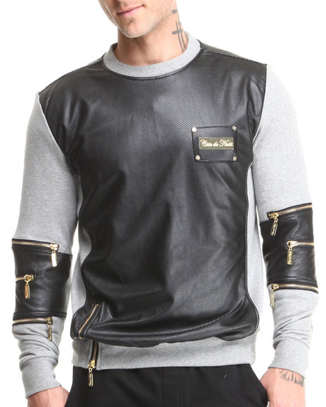 Cote De Nuits - Men Black,Grey Mixed Media French Terry Sweatshirt W/ Perforated Faux Leather - $78.99