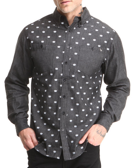 Live Mechanics Black Royalty L/S Button-Down Shirt