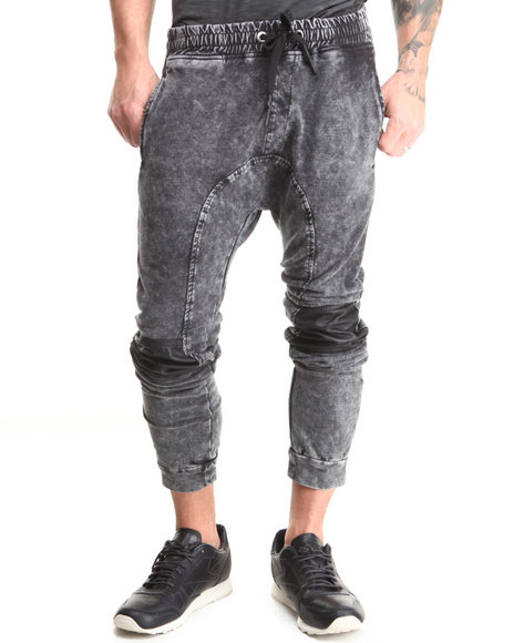 Hudson Nyc - Men Black Denim Knit Drop Jogger Pants