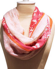 Gloves & Scarves - Floral Dot Neon Trim Scarf