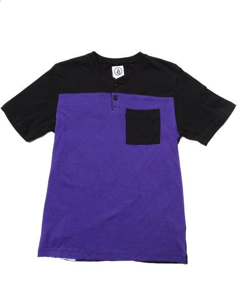 Volcom Boys Purple Magnetoblock Henley Crew Tee (8-20)