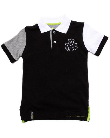 Akademiks - Boys Black Colorblocked Polo (4-7)