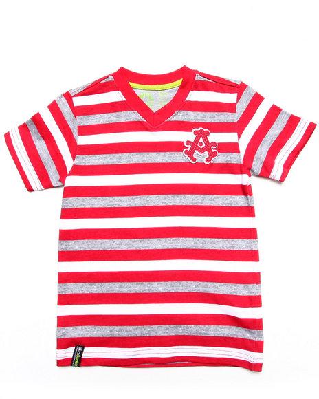 Akademiks - Boys Red Striped V-Neck Tee (4-7)