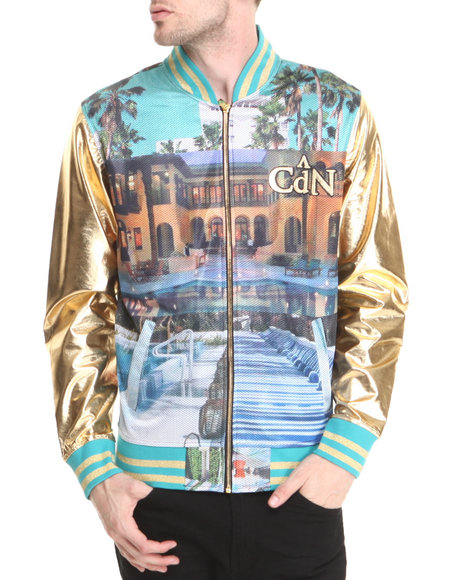 Cote De Nuits Multi Mesh Baseball Jacket W/ Gold Faux Leather Sleeves