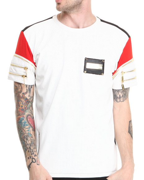 Cote De Nuits - Men White Perforated Faux Leather S/S Tee