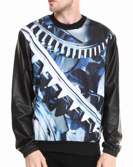 Buyers Picks - Men Black Zip N Cut Sublimation Sweatshirt W/ Faux Leather Sleeves