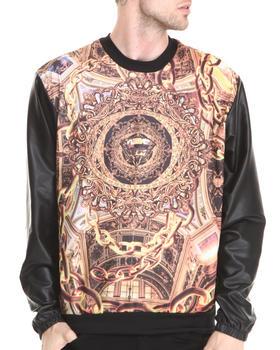Buyers Picks - Diamond & Gold Everything Sublimation sweatshirt w/ Faux leather sleeves