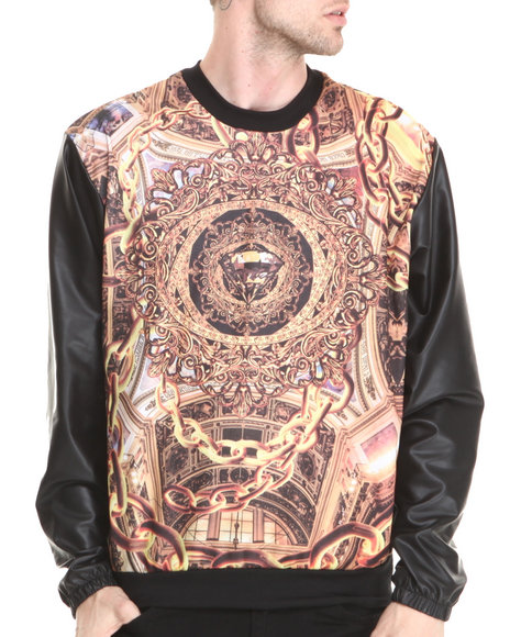 Buyers Picks - Men Multi Diamond & Gold Everything Sublimation Sweatshirt W/ Faux Leather Sleeves