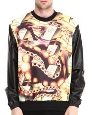 Buyers Picks - Gold N' Stuff Sublimation sweatshirt w/ Faux leather sleeves