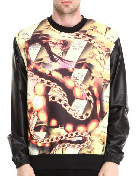 Buyers Picks - Men Multi Gold N' Stuff Sublimation Sweatshirt W/ Faux Leather Sleeves