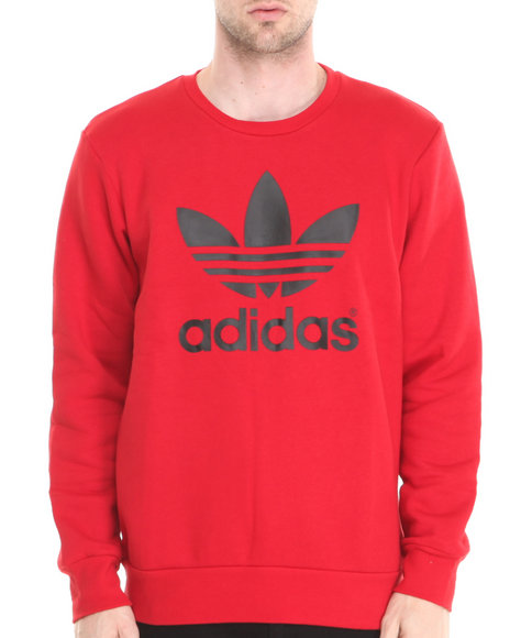 Adidas - Men Red Mirror Trefoil Logo Crew Neck Sweatshirt