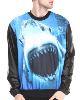 Buyers Picks - Shark attach Sublimation sweatshirt w/ Faux leather sleeves