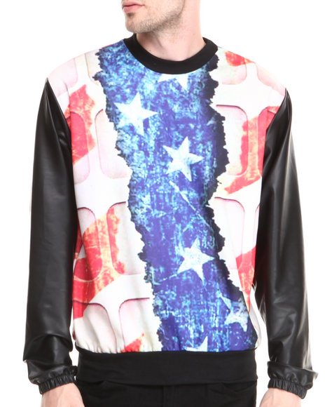 Buyers Picks - Men Multi Patriots Sublimation Sweatshirt W/ Faux Leather Sleeves