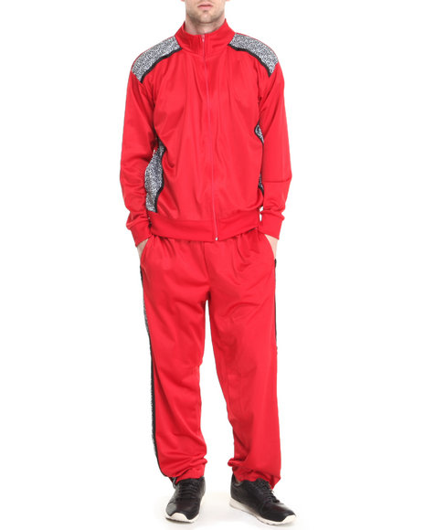 Basic Essentials - Men Red Elephant Print Tricot Track Pants Jacket Set