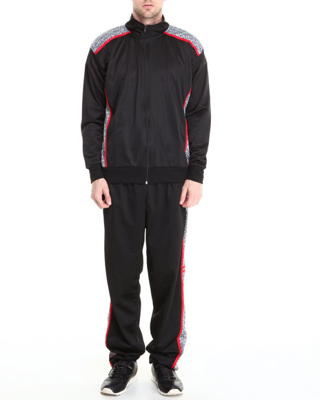 Basic Essentials - Men Black Elephant Print Tricot Track Pants Jacket Set