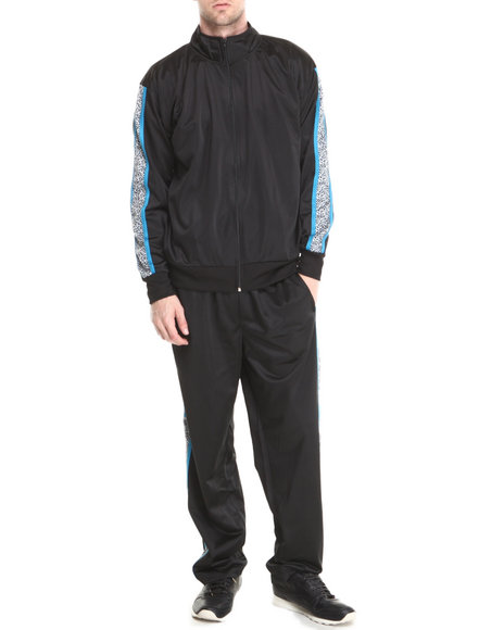 Basic Essentials - Men Black Elephant Print Tricot Track Jacket And Pants Set