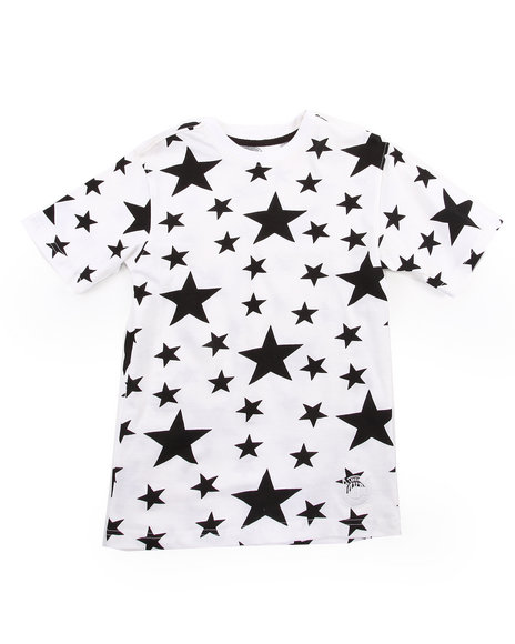 Akademiks - Boys White All-Over Star Print Tee (8-20)