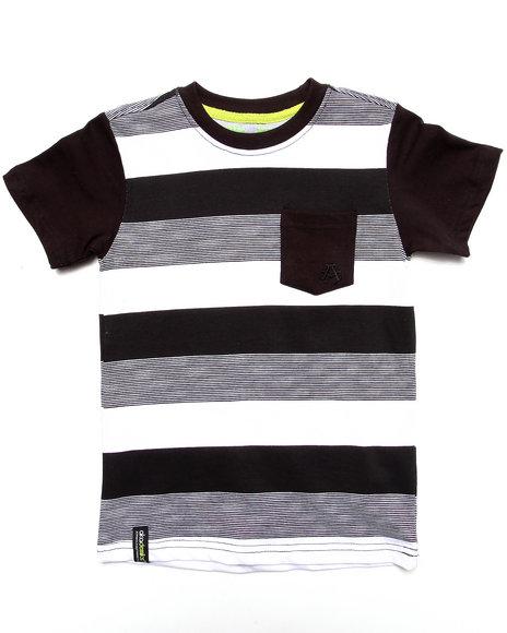 Akademiks - Boys Black Striped Pocket Tee (4-7)