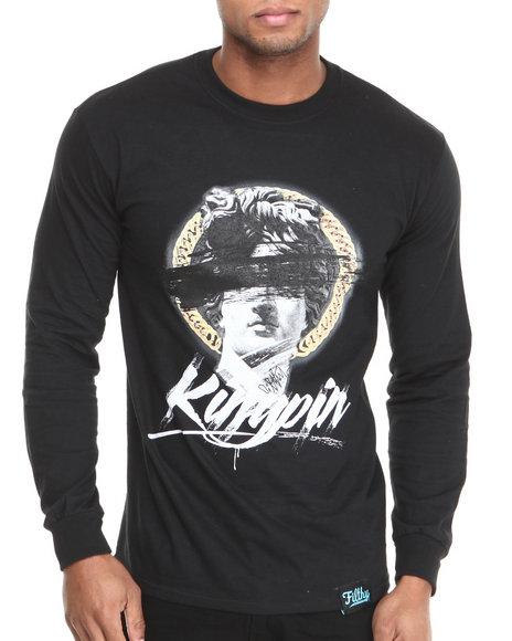 Filthy Dripped - Men Black Kingpin L/S T-Shirt - $18.99