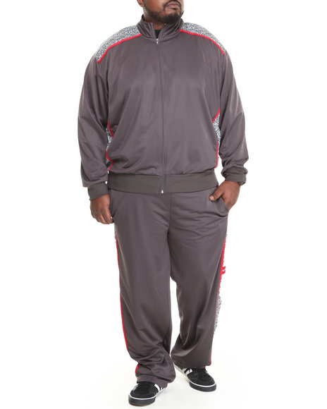 Basic Essentials - Men Grey Elephant Print Tricot Track Jacket And Pants Set (B&T)