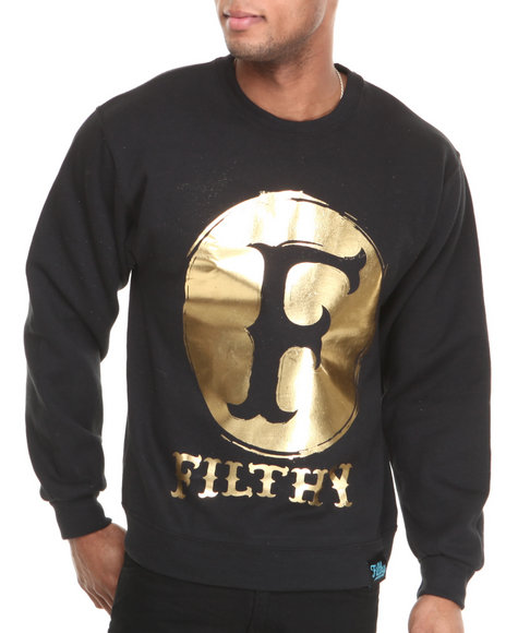 Filthy Dripped - Men Black Original Oil Crew Sweatshirt