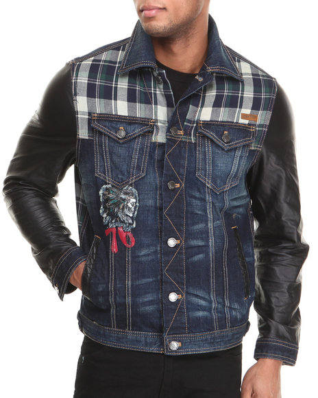 Heritage America Dark Wash Multi-Fabric Pieced Denim Jacket