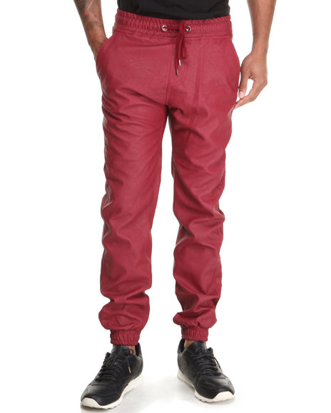 Buyers Picks - Men Maroon Faux Leather Jogger Pant