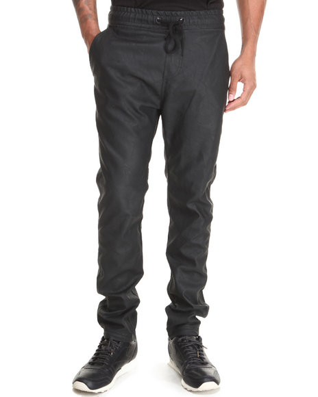 Buyers Picks - Men Black Faux Leather Open Bottom Pants