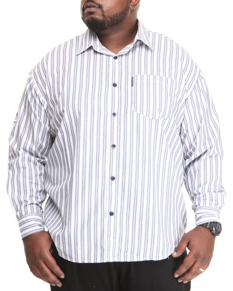 Ecko White Stripe L/S Roll-Up Button-Down (Big & Tall)