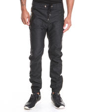 Buyers Picks - Faux Leather jogger pant w/ metallic zipper trim detail