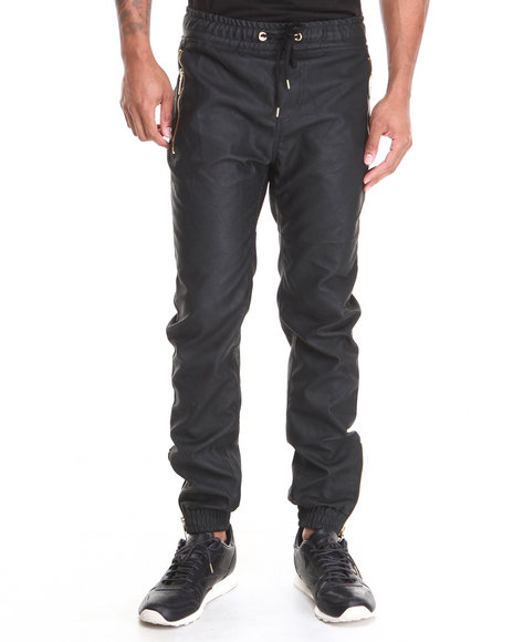 Buyers Picks - Men Black Faux Leather Jogger Pant W/ Metallic Zipper Trim Detail