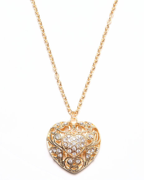 Rampage Women Lock My Heart Bling Trim Necklace Gold - $11.99
