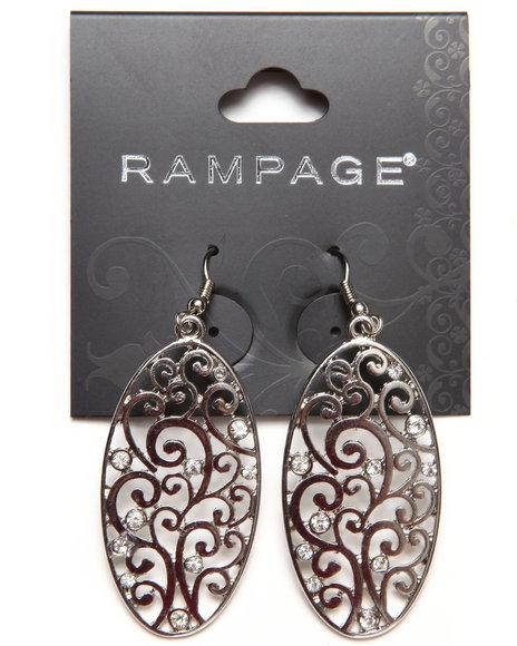 Rampage Oval Vine Bling Trim Earrings Silver