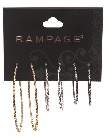 Rampage Multi Color Textured Hoop Earring Trio Multi