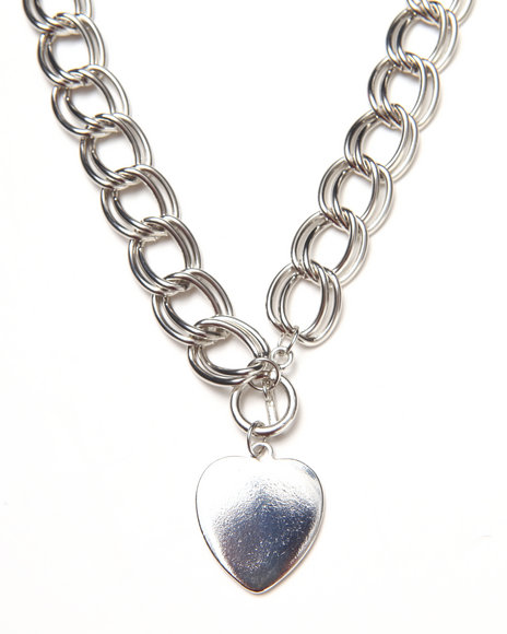 Rampage Women Chain Heart Trim Necklace Silver - $12.99