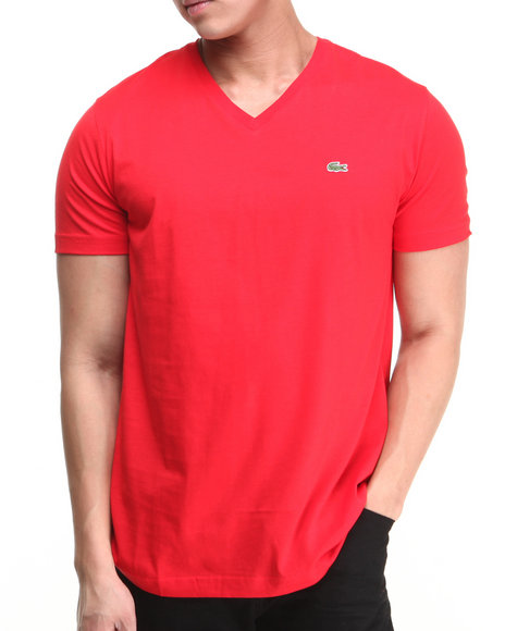 Lacoste Red S/S Pima Jersey V-Neck Tee