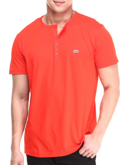 Lacoste - Men Red S/S Pima Henley Tee