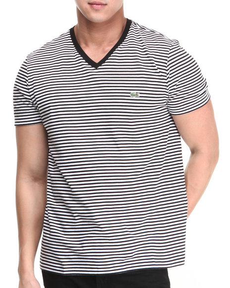 Lacoste - Men Black S/S Heritage Stripe V-Neck Tee