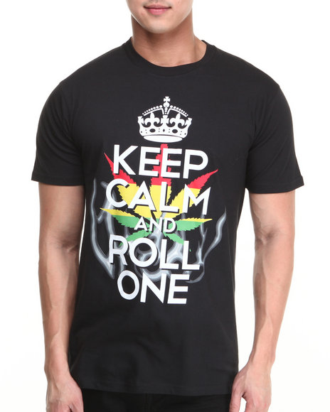 Buyers Picks - Men Black Keep Calm And Roll One Tee