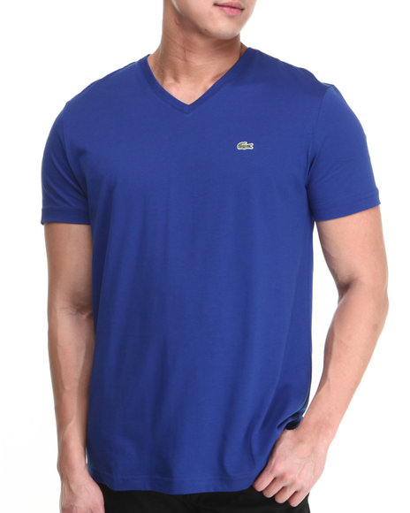 Lacoste - Men Blue S/S Pima Jersey V-Neck Tee