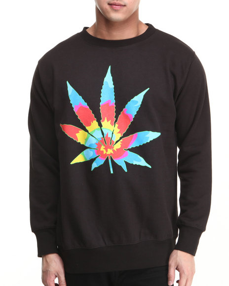 Live Mechanics Black Tye Dye Weed Dead Head Crewneck Sweatshirt