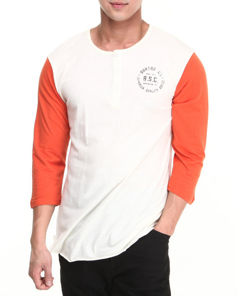Burton - Men White Bar League Henley Baseball Tee