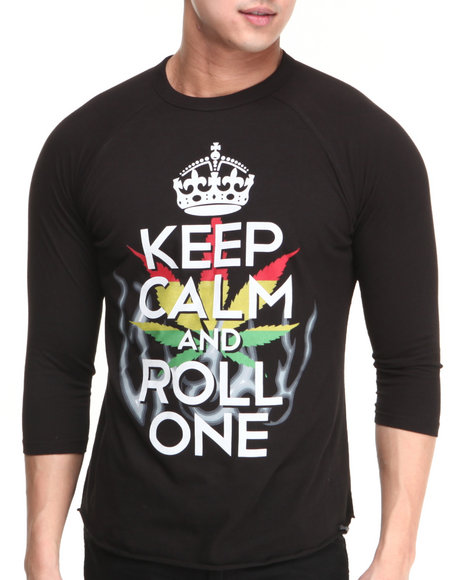 Basic Essentials - Men Black Keep Calm And Roll One Raglan