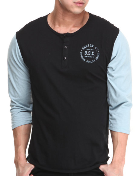 Burton - Men Black Bar League Henley Baseball Tee