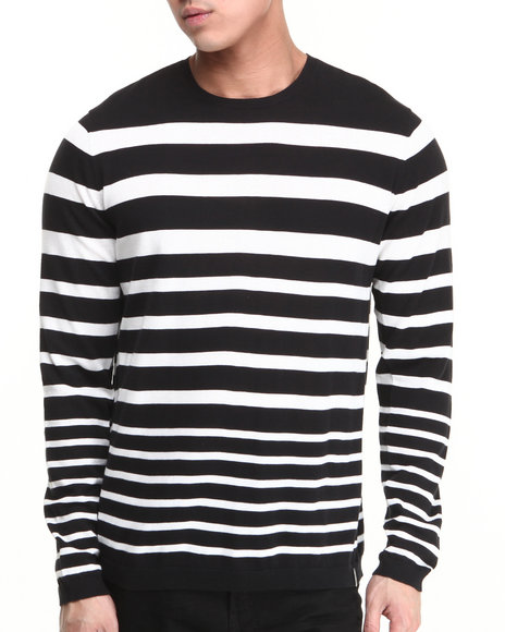 Calvin Klein - Men Black,White Graduated Stripe Crew Neck Sweater