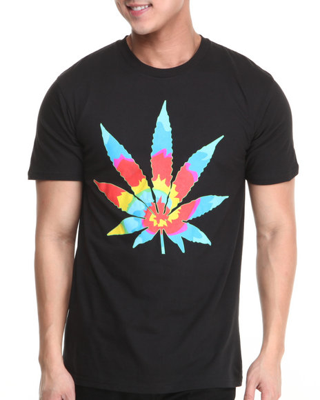 Buyers Picks - Men Black Tye Dye Weed Dead Head Tee