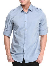 Men - Long Sleeve Small Striped Chambray Dobby Button Down