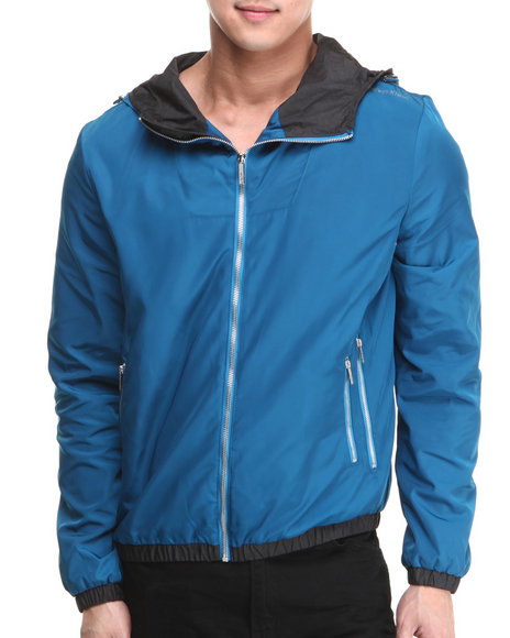 Calvin Klein - Men Blue Nylon Hooded Wind Breaker