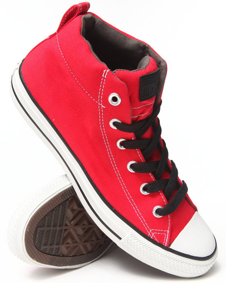 Converse - Men Red Chuck Taylor All Star Street Mid Sneakers