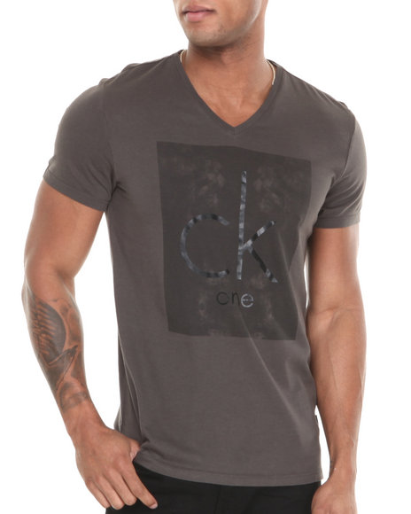 Calvin Klein - Men Olive Short Sleeve V-Neck Graphic Tee - $22.99